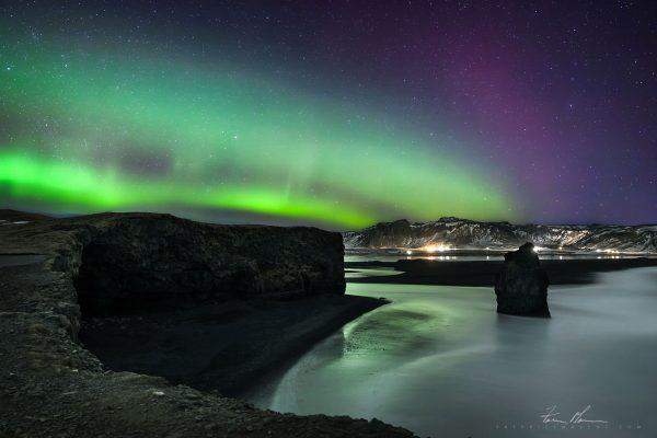 Dyrhólaey️ under the Northern Lights