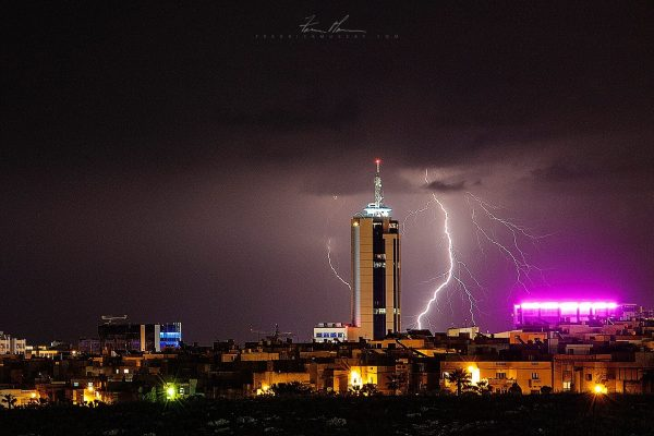 Lightning behind Portomaso Tower