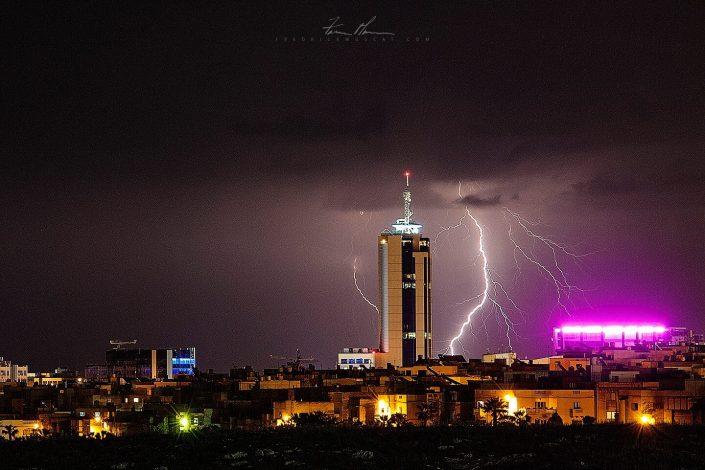 Lightning behind Portomaso Tower
