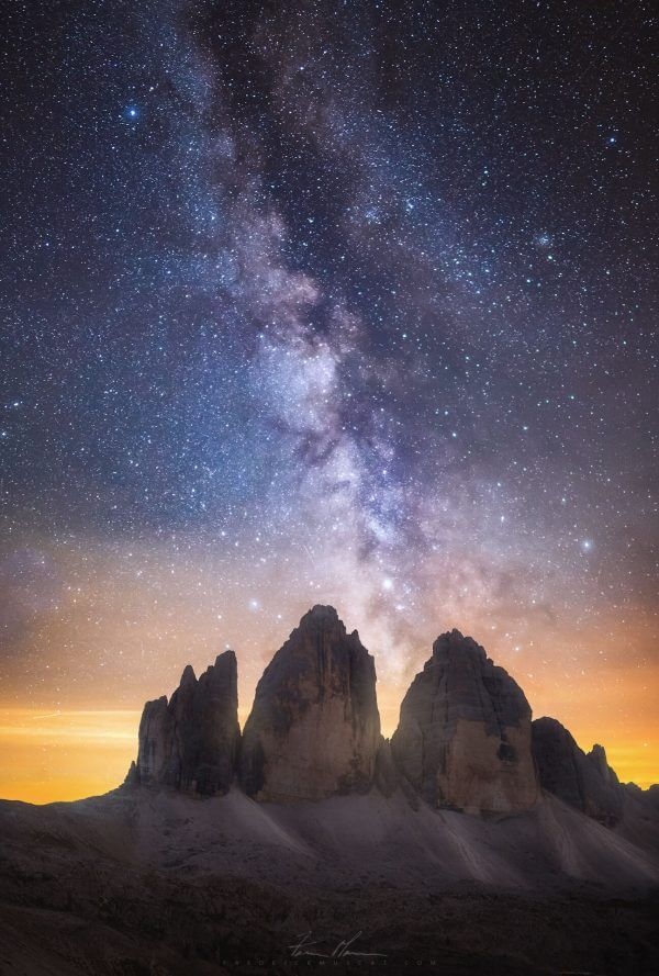 The Milky Way over Tre Cime